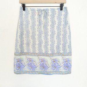Vintage 90's Esprit Floral Silk Drawstring Skirt